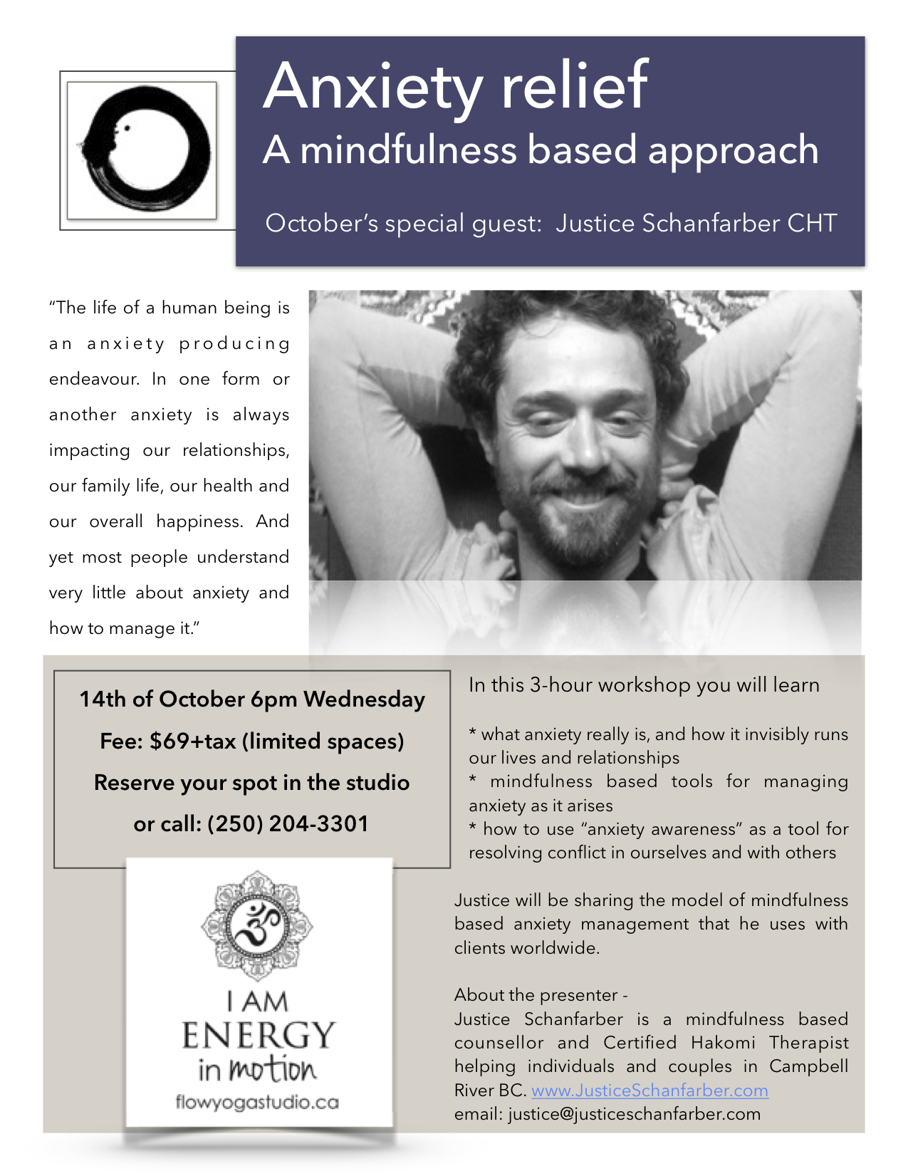 Anxiety relief mindfulness workshop