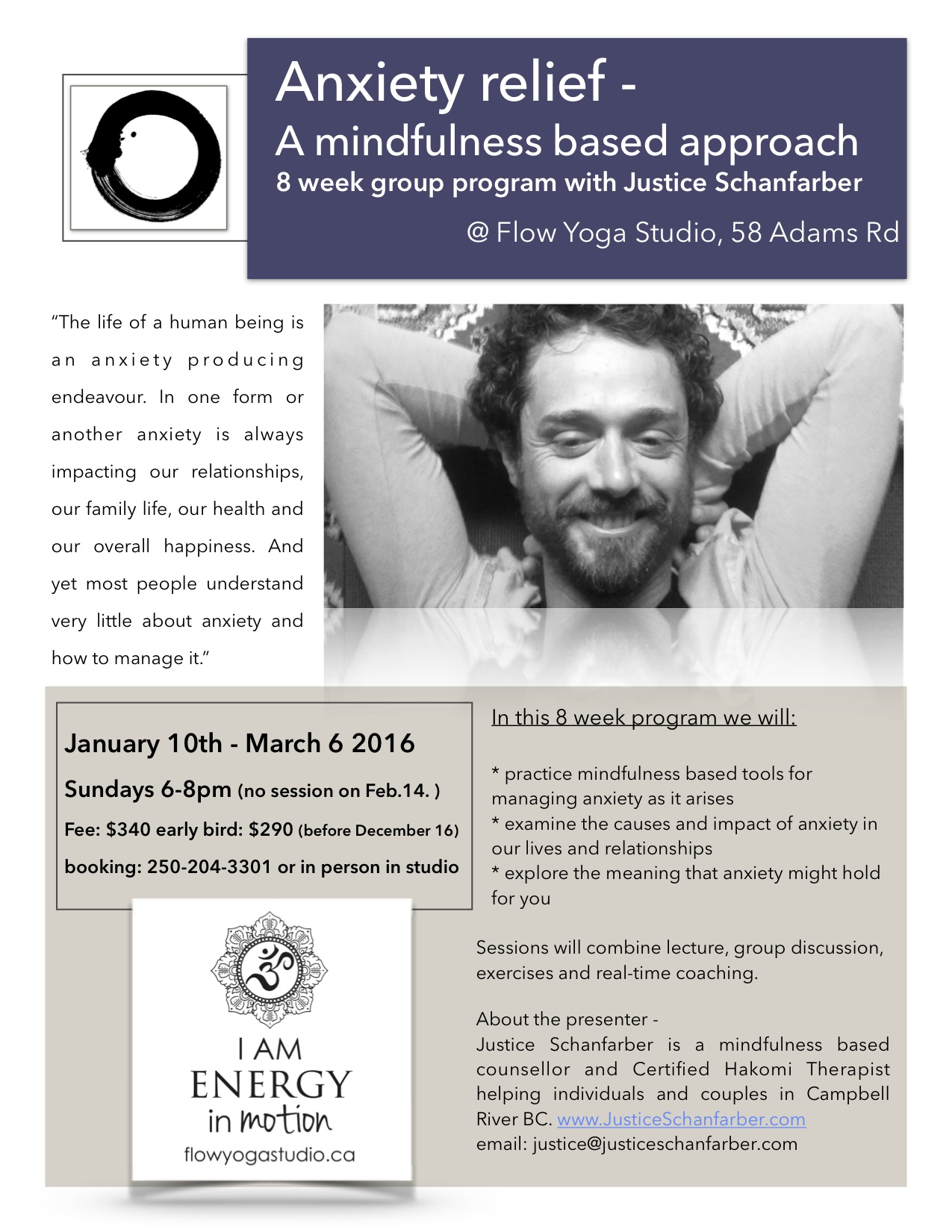 Anxiety relief - A mindfulness based approach 8-week group program